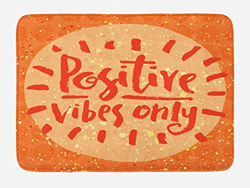 Ambesonne Saying Bath Mat, Positive Vibes Only Hand Lettering Words on Doodle Background, Plush Bathroom Decor Mat with Non Slip Backing, 29.5 W X 17.5 L Inches, Orange Vermilion