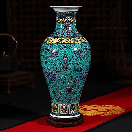 HTL Gran jarrón de Porcelana Tradicional Jarrón Chino Antiguo jarrón de cerámica con Base de la Base Decorativa jarrón de Porcelana Moderna Pieza Central Colorido Chino jarrón-d h46cmxw20cm