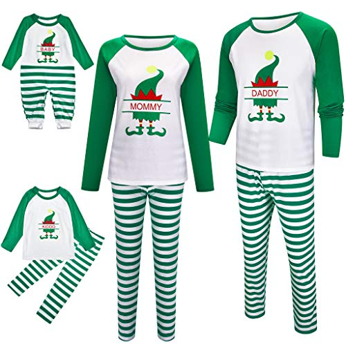 Holeider Weihnachten Schlafanzug Familie Pyjama Set Grün Schlafanzüge für Damen Herren Nachthemd Kinder Langarm Tops + Hosen Streifen Weihnachten Nachtwäsche Weihnachtskostüm