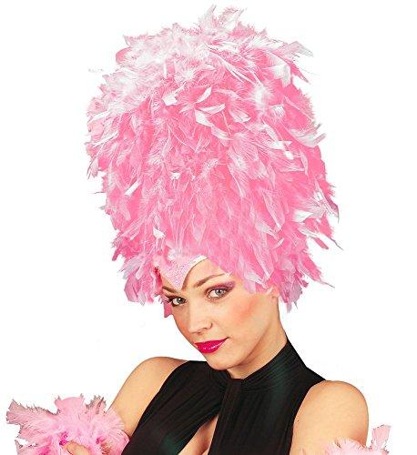 Damen Feder Pailletten Kopfschmuck Hut Flamingo Showgirl Samba Brasilien Rio Kostüm Kopfbedeckung Kostüm-Zubehör, Farbe:Rosa