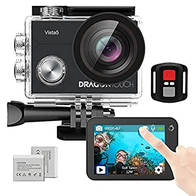 Dragon Touch Native 4K30fps Action Camera with Touch Screen EIS Remote Control Vista 5 WiFi 100 feet Waterproof Sports Camera 2 Batteries and Mounting Accessories Kit from Dragon Touch
