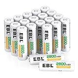 EBL 20 Pack de 2800mAh Pilas AA Recargables Ni-MH 1,2V Alta Capacidad Precargadas 1200 Ciclos y 5 x Cajitas de Pila