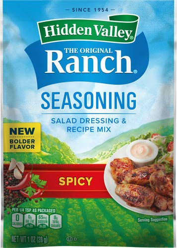 Hidden Valley Spicy Ranch Salad Dressing & Seasoning Mix, Gluten Free -1 Packet (Package May Vary)