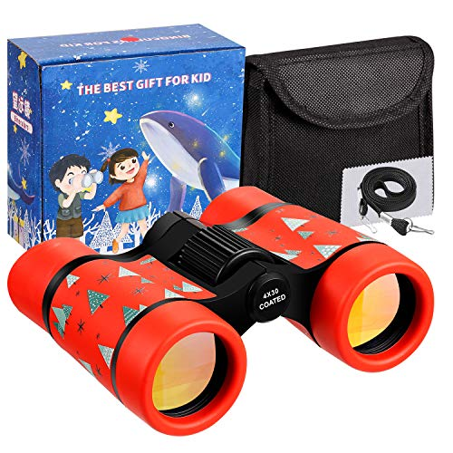 LTWQLing Toy Binoculars for Kids Best Gifts for 3-12 Years Boys Girls Rubber 4x30mm Shock Proof Children Binoculars for Bird Watching,Educational Learning,Hiking,Travel,Camping (red)