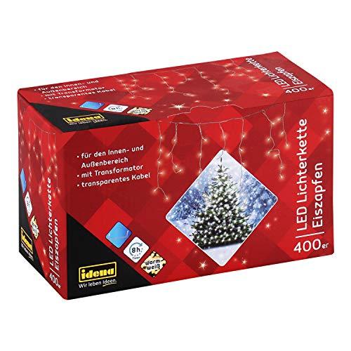 Idena 31819 - LED Lichterkette Eiszapfen mit 400 LED in weiß, mit 8 Stunden Timer Funktion und Transformator, ca. 10,27 m lang, Innen- und Außenbereich, für Partys, Weihnachten, Deko, Hochzeit