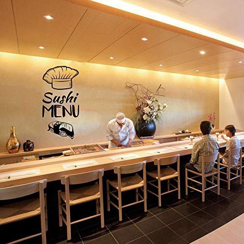Muursticker Vinyl Decal Japanse Sushi Chef Eten Oosterse Restaurant Sushi Decal Japanse Voedsel Sticker Waterdichte Muurschildering 21x42cm