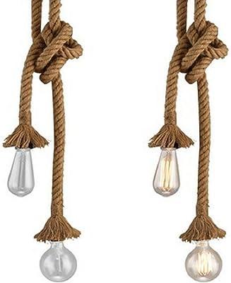 Lámpara colgante industrial, STARRYOL cuerda doble de cabeza de ...
