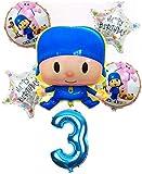qingtianlove 6 Piezas/Lote Pocoyo Number Foil Balloons Set Baby Shower Fiesta de cumpleaños Bautismo Decoración Suministros Niños Figura de Dibujos Animados Juguete, 1Pcs 18 Inch Foil, A3 Style
