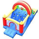 Costway Château Gonflable pour Enfants Murs en Maille des 3 Côtés 500x200x200CM pour Enfants 3-6Ans Capacité Max 80KG avec 2 Toboggans,Grand Mur d'Escalade (Souffleur Non-Inclus)