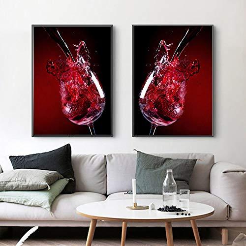 LYFrend Arte Abstracto Moderno sobre Lienzo de Vidrio de Vino Tinto Pintura Mural Imagenpara Sala de Estar decoración del hogar 2 Piezas 60x80 cm / 23.6'x 31.5' Sin Marco