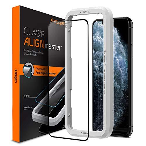 Spigen, Vetro Temperato iPhone 11 PRO Max (6.5'), Align Master, Copertura Totale, Installazione Semplice con Cornice di Allineamento, Durezza 9H, Compatibile con Cover, Anti-Graffio (AGL00457)