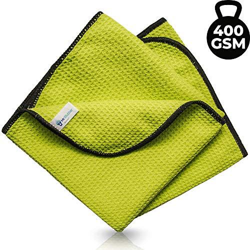 Microfasertuch für Fenster, Glas Putztuch [400 GSM], Mikrofasertuch für Auto & Haushalt, Trockentuch / Fenstertuch streifenfrei, Profi Reinigungstuch für Küche, Waffeltuch / Glastuch zur Autopflege