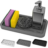 GOOD TO GOOD Sponges Holder - Kitchen Sink Organizer Silicone Tray for Sponge, Soap Dispenser, Scrubber, and Other Dishwashing Accessories