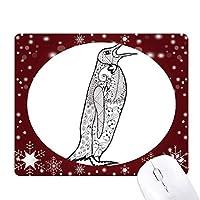 かわいいペンギン動物の肖像画のスケッチ オフィス用雪ゴムマウスパッド