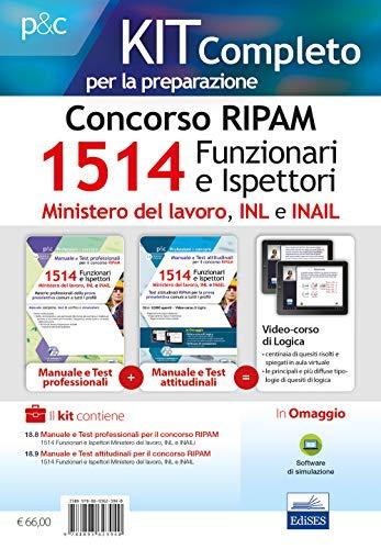 Kit completo per il concorso RIPAM 1514 Funzionari e Ispettori nel Ministero del lavoro, nell'INL e nell'INAIL. Manuale e Test per la prova preselettiva