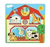 Bieco 74608914 - Puzle de madera para niños a partir de 18 m+, diseño de granja, multicolor , color/modelo surtido