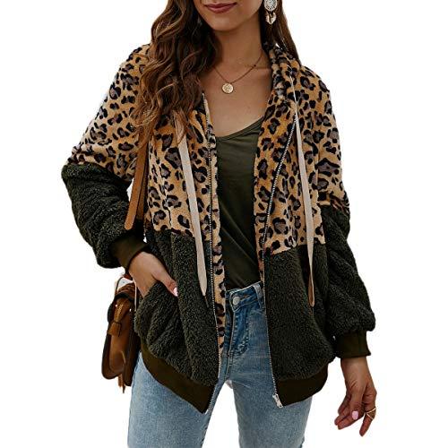 Greetuny Chaqueta de Invierno 2019 Moda Leopardo Abrigo de Borreguito Mujer Espesar Suéteres de Felpa Chaqueta de Solapa