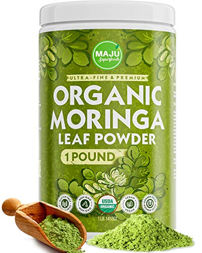 MAJU's Organic Moringa Powder (1 Pound), Oleifera Leaf, Extra-Fine Quality, Dried Drumstick Tree Leaves, Tea, Smoothies, Food-Grade