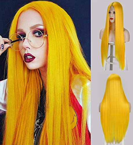 CQW Long Straight Tab Lace Front Wigs for Women, Yellow Middle Part Silky Synthetic Hair Wig, Natural Looking Cute Fashion Heat Resistant Wigs for Daily Party Costume 27 Inch C013Y