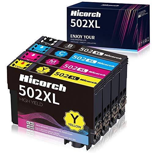 Hicorch 502XL Cartouches d'encre Compatible pour Epson 502 502XL pour Epson Expression Home XP-5100 XP-5105 XP 5100 XP 5105, Workforce WF-2860DWF WF-2865DWF WF-2860 WF-2865