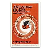 ビンテージポスター、映画めまい壁ポスター、レトロフィルムアート印刷、ジェームズスチュワートキムノバックポスター50x75cmフレームなし