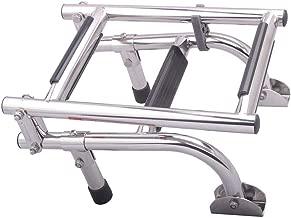 Hoffen 3 Step Folding Ladder Boat Marine Stainless Steel Pontoon Ladder Polished 2+1 Step