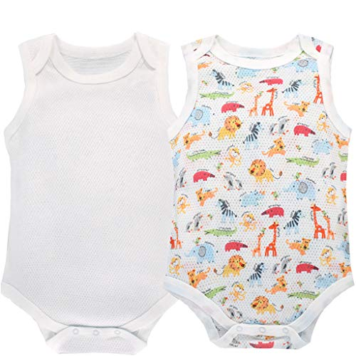 Body Bebé Pack de 2 Niñas Niños Monos Sin Mangas Pelele Pijama de Algodón 12-24 Meses