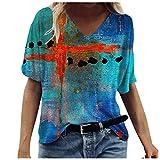 Kurzarm T-Shirt Oberteil Druckbluse Geschenk Sommer Top Damen Ärmeln Bluse Elegante Lässige Mode mit Buntem 2021 Neue Crop Tops (D-Blau, S)