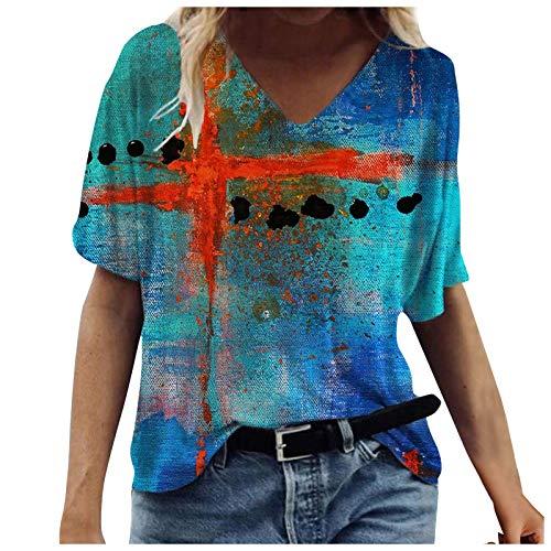 Camiseta de verano para mujer, de manga corta, con cuello en V, holgada, holgada, holgada, informal, con estampado de letras, C-02 Azul, M