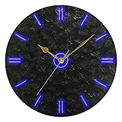 Wall Clock 9.84 Inch Silent Non-Ticking Blue Neon Pattern Clocks Battery Operated Round Easy to Read for Living Room, Home, Kitchen, Bedroom Decorative