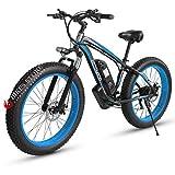 Elektrofahrrad E-Bike Mountainbike, 26'*4.0Elektrisches Fahrrad mit 48V 1000W Heckmotor 18AH Abnehmbarer Lithium Akku,MTB für Outdoor HerrenDamen (Black Blue)