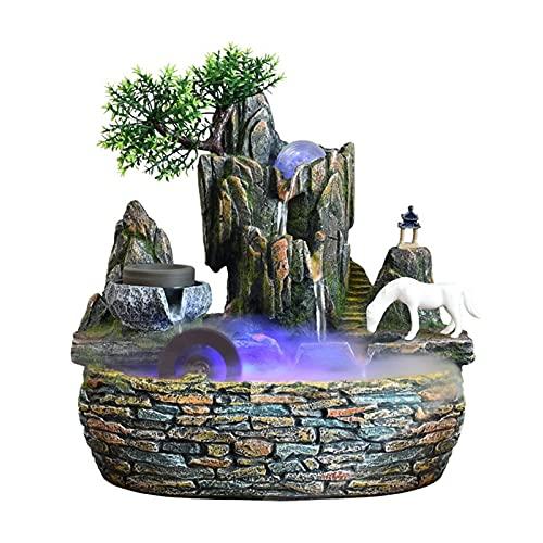 Fuente de Interior Fuente de agua rundial creativa - Decoración de la casa de la resina de la resina de la resina de la fuente de agua de la mesa con luces coloridas (tamaño 45 * 28 * 49 cm) Fuente De