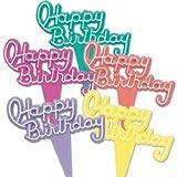Oasis Supply Lot de 12 panneaux décoratifs pour gâteau Motif Happy Birthday Motif fluo