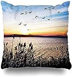 BONRI Throw Pillow Cover Honeymoon Blue Sunset Sea Diadema Aves Turismo Naturaleza Parques Playa Paraíso Amor Paz Diseño Funda de Almohada para el hogar Pollos Cuadrados 16×16pulgada