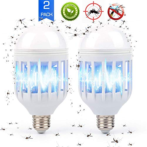 PUMPICOO Bug Zapper LED Light Bulb, 2 in 1 Pest Repellent, Mosquito Fly Killer Lamp, Electronic Insect Trap for Home Indoor Outdoor Porch Patio Garden, 12w, 110V, Pack of 2