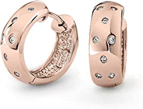 Zig Zag Bezel Set Cubic Zirconia Wide Kpop Huggie Hoop Earrings For Women For Rose Gold Plated 925 Sterling Silver