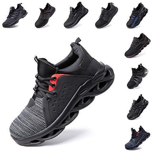 Hitmars Sicherheitsschuhe Herren Damen S3 Arbeitsschuhe Leicht Atmungsaktiv Sportlich Schuhe Stahlkappe Mesh Sneaker Grau 47 EU