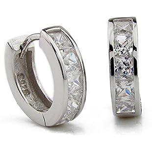 Elinka Men Women Girls Fashion Jewelry 925 Rhinestones Sterling Silver Hoop Earrings Studs Set (Silver)