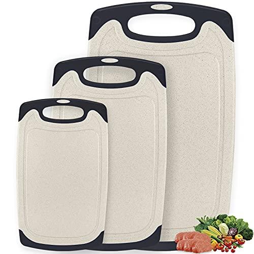 Amzeeniu 3 Unidades Tabla de Cortar,Plástico Tablas de Cortar,Tablas de Cocina para Cortar,Libres de BPA,Apta para Lavavajillas,con Ranura para Jugos y Base Antideslizante,para Carne,Verduras