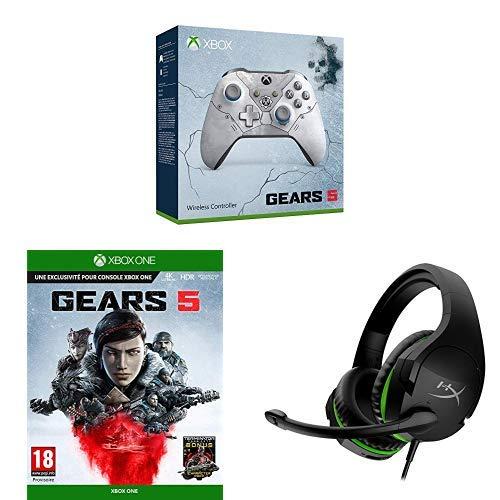 Manette sans fil pour Xbox One - Edition Limitée Kait Diaz (Gears5) + Gears 5 (Xbox One) + HyperX HX-Hscsx-BK/Ww Cloud Stinger pour Xbox - Casque Gaming