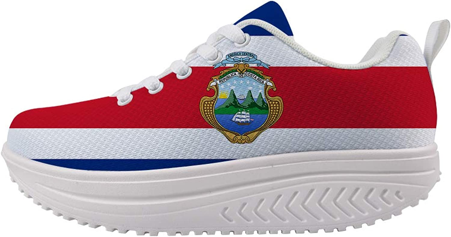 Owaheson Swing Platform Toning Fitness Casual Walking shoes Wedge Sneaker Women Costa Rica Flag National Emblem