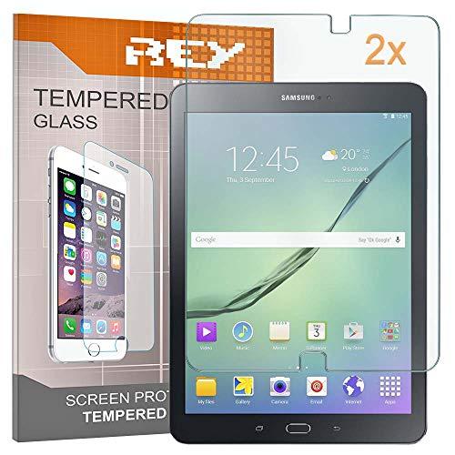 """REY Pack 2X Panzerglas Schutzfolie kompatibel mit Samsung Galaxy TAB S2 9.7\"""" T813 T810, Displayschutzfolie 9H+ Härte, Anti-Kratzen, Anti-Öl, Anti-Bläschen"""
