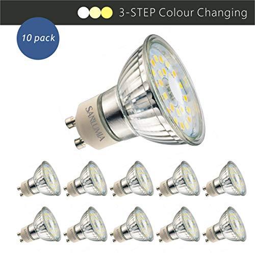 Sanlumia Bombillas LED GU10, 5W = 50W Halógena, 450Lm, 120 ° ángulo de haz, Iluminación de Techo para Cocina, Oficina, o Baño, 3 colores claros en 1, Paquete de 10