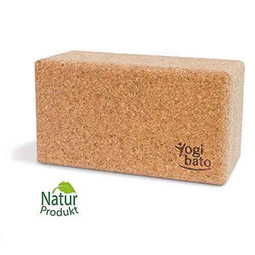 Yogibato Yogablock Kork stabil & rutschfest | Yoga Block 1er Pack | Natur Korkblock für Yoga und Fitness – Pilates & Hatha Klotz – Cork Brick – Yogaklotz 100% Naturkork