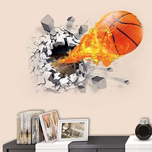 Pegatinas pared Baloncesto 3D Vinilos Decorativos Murales Arte Calcomanías Creativo Pegatina De Pared Adhesivos Pared Efecto Pared Rota, para Infantiles Habitación Salón Dormitorio (baloncesto)