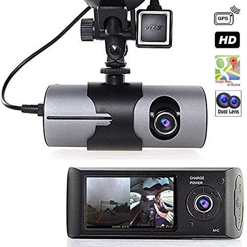 Grewtech 6,9 cm TFT LCD HD de voiture Dash Camera double Cam GPS Caméra de voiture Camera w/Google Maps, G-Sensor, vision de nuit, moniteur de stationnement, grand angle, détection de crash, mémoire de 32 Go
