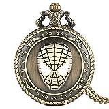 Reloj de bolsillo con patrón de cara de Spiderman para hombres y hombres, reloj de bolsillo de movimiento de cuarzo, reloj de bolsillo clásico de bronce antiguo para niños