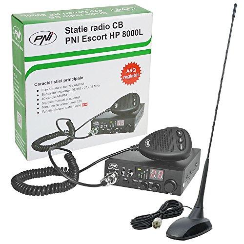 PNI CB funkgerät Kit CB Escort HP 8000L ASQ + CB-Antenne Extra 48, Zigarettenanzünder-Stecker im Lieferumfang enthalten