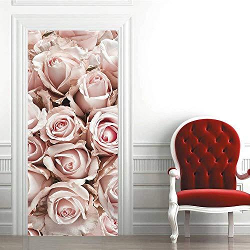 Pegatinas de Puerta 3D-Rosa Rosada-Murales Autoadhesivos Decoración del Hogar Pegatinas de Pared PVC Pegatinas de Arte Dormitorio Sala de Estar Póster Extraíble 95x215cm