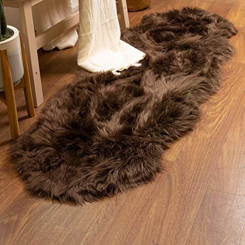 Super Area Rugs Soft Faux Sheepskin Fur Fluffy Area Rug Dark Brown 2 x 6 Sheepskin product image